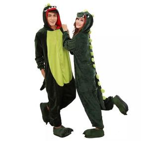 Pijama Dinosaurio Verde Kigurumi Unisex Mameluco Cosplay