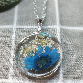 Colar Bola De Vidro Cristal Flores Secas Flores Azuis