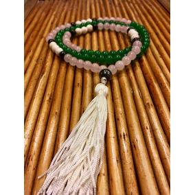 Japamala Jade Verde Quartzo Rosa Howlita Branca E Onix