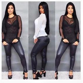 Blusa Feminina Em Tule Trasnparente Manga Longa Camiseta 905cf90314e