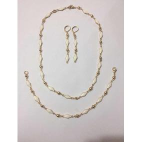 Bonitos Juego De Collar Aretes Y Pulsera Chapa De Oro 18k