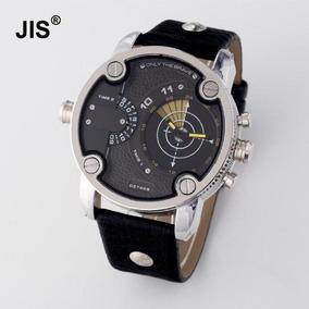 3199def34d3 Relógio Jis Masculino Preto Amarelo Prata Aço Inox Metal