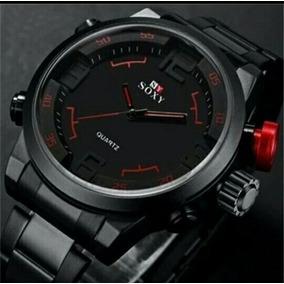 Reloj Negro Y Rojo Soxy
