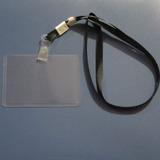 Pack 10 Lanyard Negro + 10 Portacredencial Horizontal