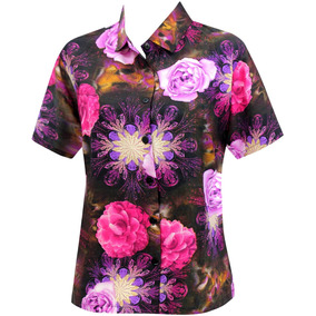 La Leela Camisa Hawaiana Blusas Botón De La Playa De Las Mu