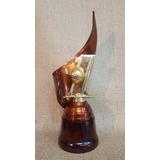 Trofeo Metálico Alegoría Base Madera Golf 28cm