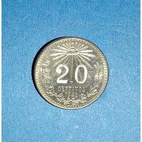 7 Monedas Antiguas Mexicanas De Plata 20 Ctvs Resplandor !!