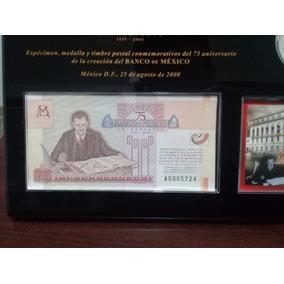 6e12967dfb45 Set 75 Aniversario Banco De Mexico 2 Oz Plata Billete Timbre