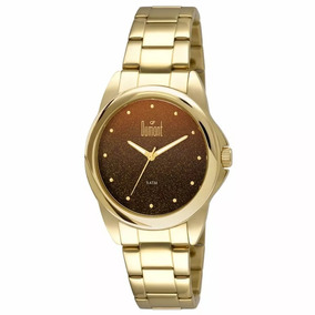 Relógio Feminino Dumont Du2035lnu/4p Dourado Fundo Marrom