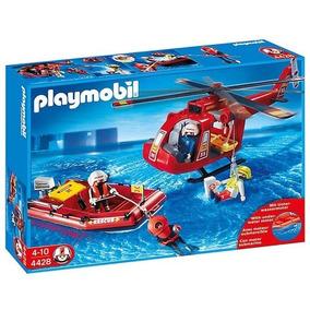 Playmobil Bombeiro Equipe Resgate Helicóptero Bote 4428