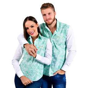 Blusas Dama Y Caballero Parejas Verde Porto Blanco De-526