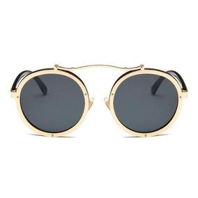 Óculos De Sol Retrô Redondo Uv400 Vintage Masculino Feminino · R  129 71 05182c1ef3