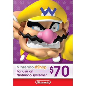 Cartão Nintendo Eshop Usa Switch 3ds Wii U Ecash $70 Dolares
