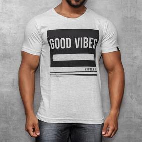 Camisa T-shirt Com Silk Camiseta Good Vibes Manga Curta Off