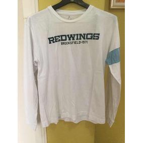 Camiseta Brooksfield 100% Algodão Manga Longa Branca 9e3923c0f4a43