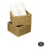 Caja Cubo Baño Cocina Living Organizador Seagrass 19 X 9 Cm