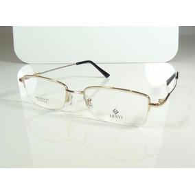 ce114aac06f76 Armação Oculos Grau Titanium Dourada Bifocal Meio Aro A796