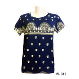 Baby Look Camiseta Feminina Indiana Hippie Mandalas Azul