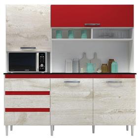 Armário Cozinha Kit Florença Branco Vermelho- Incorplac