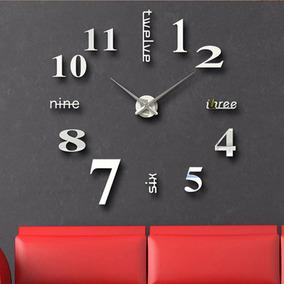 Gran Reloj Real De Pared 3-d 120cm Plata Espejo Sala Minimal
