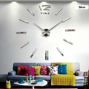 Reloj Real Pared 120cm 3d Moderno Minimal Espejo Cristal