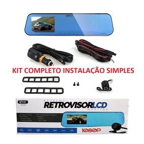 Kit Espelho Retrovisor C/ 2 Câmeras Monitor Tela Lcd 4.3 Gol