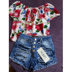 Conjunto Short Jeans Blusa Ciganinha Verao