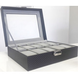 Estuche De Lujo Negro Caja Organizadora Para 10 Relojes