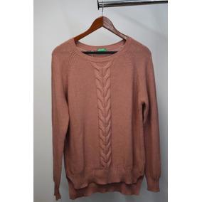 Mujer Suéter Benetton Color Palo De Rosa Talla Mediana