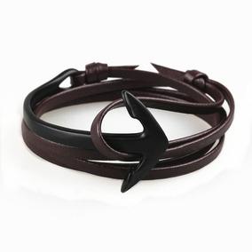 Pulseira Feminina Bracelete Regulável Couro Âncora De Metal