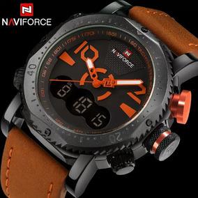 Relógio Masculino Original Navi Couro Dual Time Prova D
