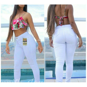 Calça Jeans Feminina Branca Hotpants Cintura Alta C/ Lycra