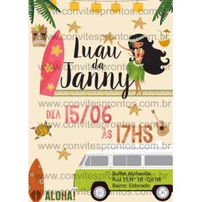 Convite Digital Tema Havai Hawaii Luau Havaiano Tropical