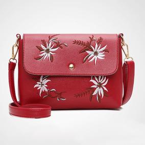 Bolsa De Couro 3 Bolsas Mojoyce Red Elegante Embroyder Luxo