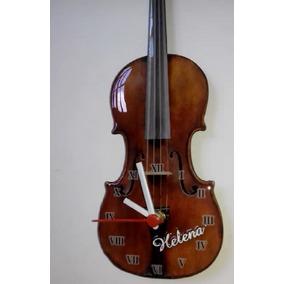 Relógio Violino Personalizado Com Seu Nome 32x11cm