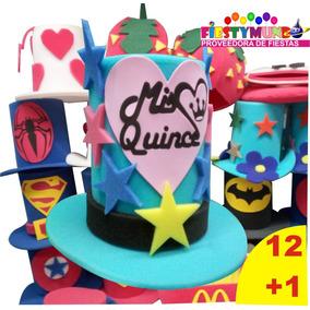 13 Sombreros Hule Espuma Fiesta Xv Batucada Quince Goma