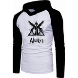 Camiseta Manga Longa Capuz Harry Potter Reliquias Da Morte