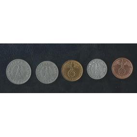 Reichspfennig Lote De 5 Moedas Diferentes Com Suástica