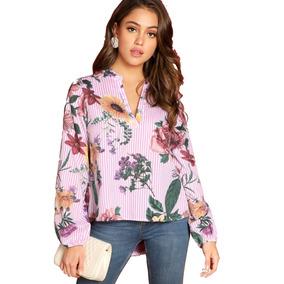 Blusa Top Para Mujer De Rayas Y Flores