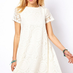 Vestido Casual De Manga Corta Color Blanco Muy Delicado