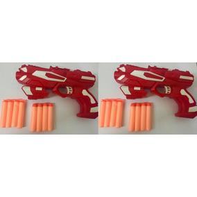 2 Lançador Dardos Arma Arminha Pistola 16 Dardos Nerf Espuma