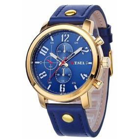 Relógio Esportivo Pulseira Couro Masculino Militar + Caixa