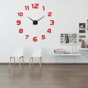 Reloj 3d Pared Grande Minimalista 120 Cm Negro, Plata Y Rojo
