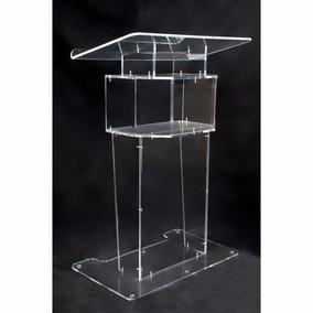 Estante Mesa Púlpito Acrílico Transparente Modelo C/ Suporte