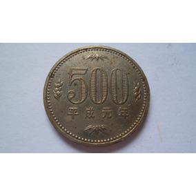 Moeda Japão, 500 Yen, 1989, Cuproníquel,