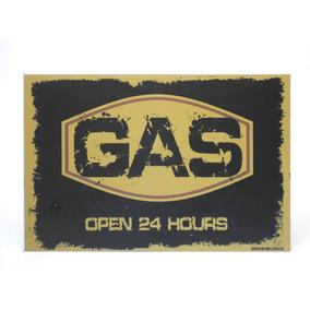 Placa Decorativa Gas Open 24 Hours