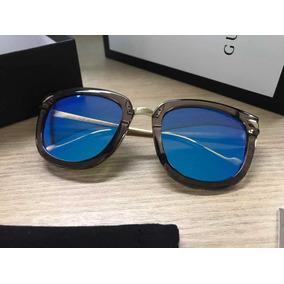b3c30047bfa35 Óculos De Sol Gucci Grafite Com Lentes Azuis Espelhadas