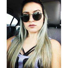 Óculos De Sol Feminino Redondo Preto Dourado Grife Uv400