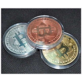 3 Moeda Bitcoin Física - Ouro Prata Bronze