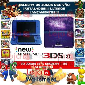 Nintendo New 3ds Xl Pokemon Mario Zelda, 30 Jogos + Estojo
